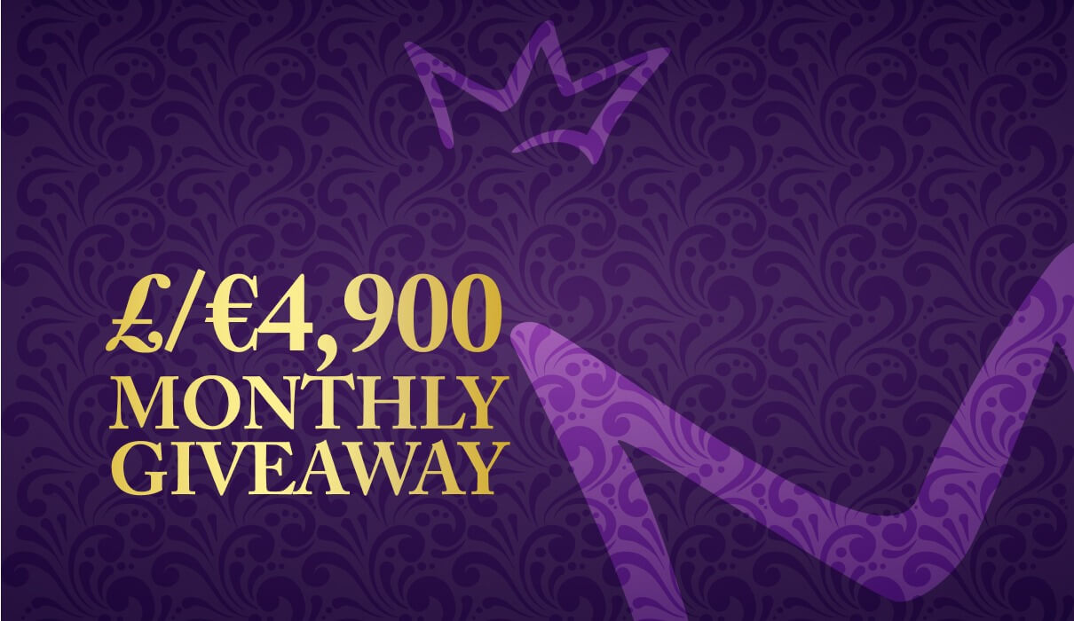 Every month, you can win a share of €/£4,900 in our Royal Room. We have weekly Royal Room sessions on various days of the week